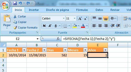 Cómo restar fechas en Excel y obtener años