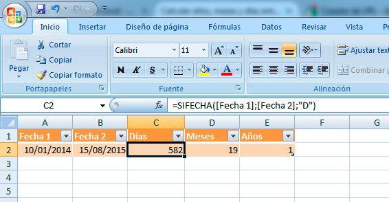 Restar fechas en Excel y obtener días