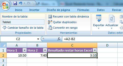 Cómo restar horas en Excel