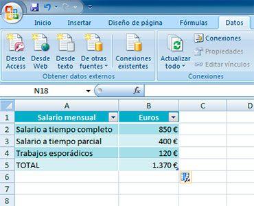 Resultado de sumar en Excel