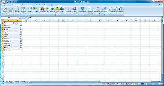 Seleccionar rango de datos en Excel