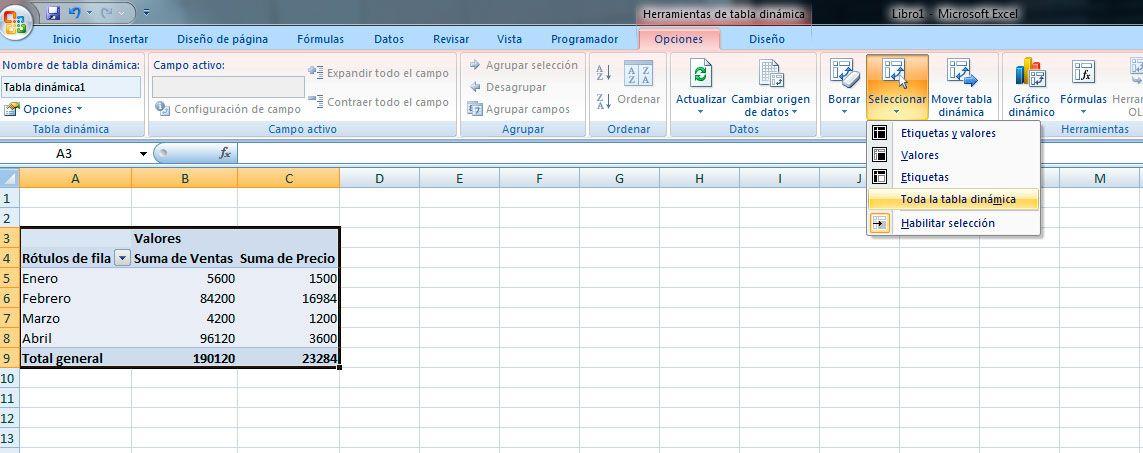 Seleccionar tabla dinámica en Excel