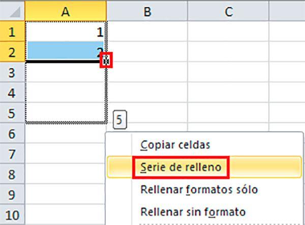Numerar casillas de Excel con las series de relleno