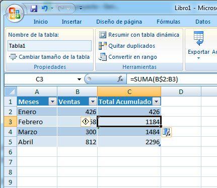 Hacer la suma acumulada en Excel