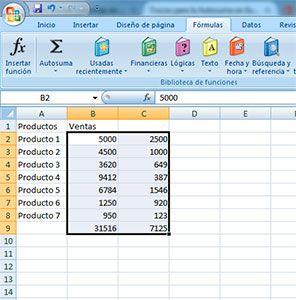 Suma de dos columnas en Excel