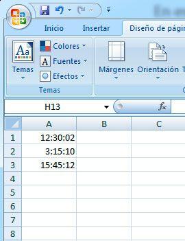 Suma de horas, minutos y segundos en Excel