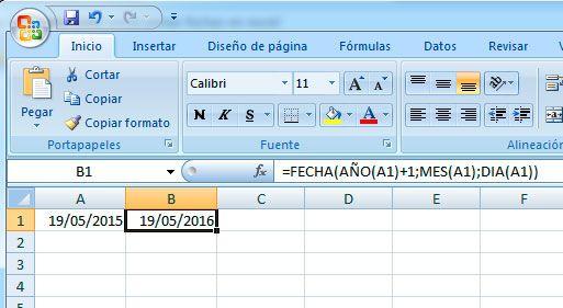 Sumar años a una fecha en Excel