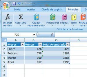 Sumar con filtros en Excel