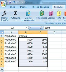 Sumar dos columnas en Excel
