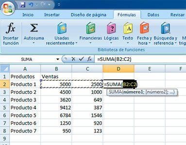 Sumar filas en Excel