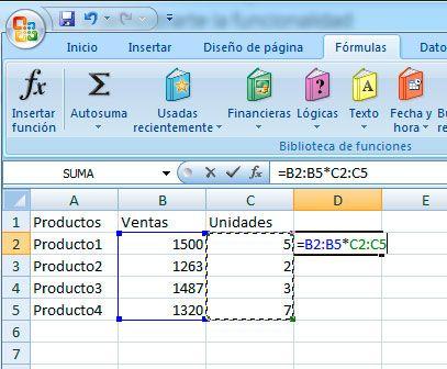 Sumar matrices en Excel