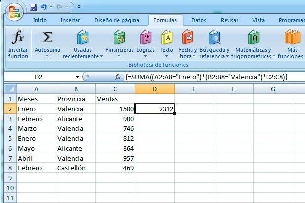 Sumar si en Excel con matricial