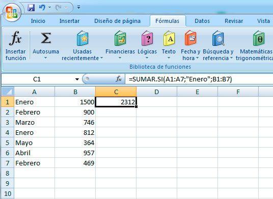 Hacer la función sumar si en Excel