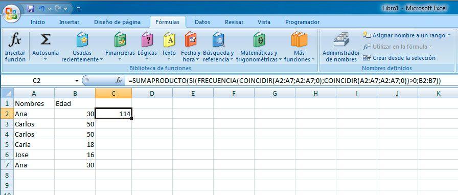 Sumar sin duplicados en Excel