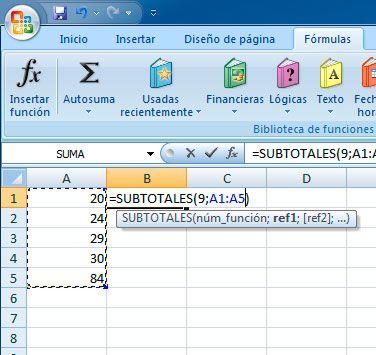 Sumar subtotales en Excel