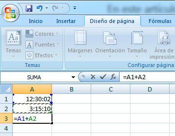 Sumar unidades de tiempo con Excel