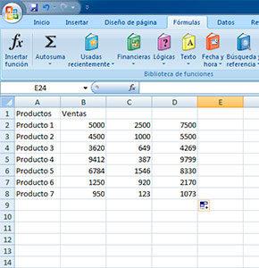 Sumar varias filas en Excel