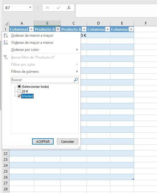Quitar filas en blanco en Excel