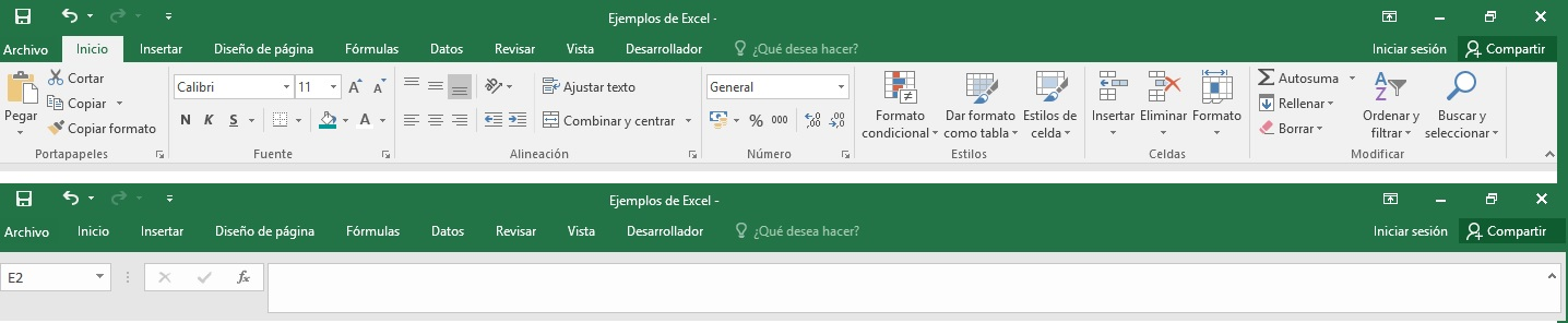 Quitar la cinta de opciones de Excel