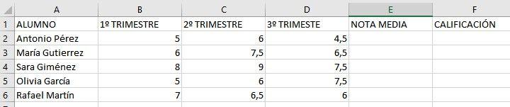 Calificaciones en Excel
