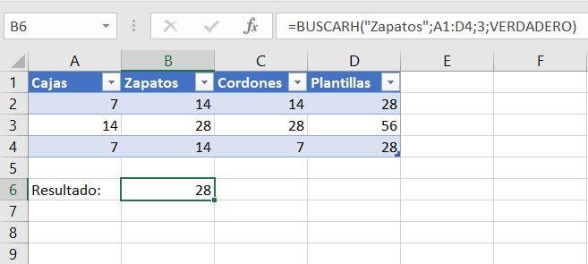 Función Buscarh Excel