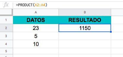Ejemplo para usar la Función PRODUCTO en Excel