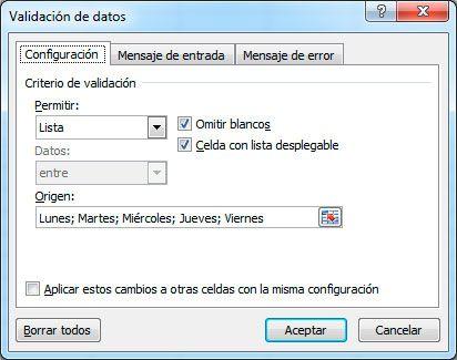 Origen de validación de datos en listas desplegables