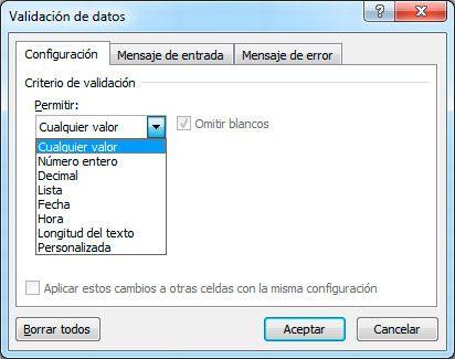 Valiación de datos en Excel