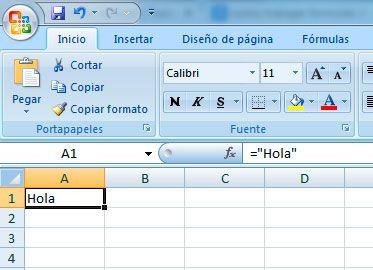Constante texto en Excel